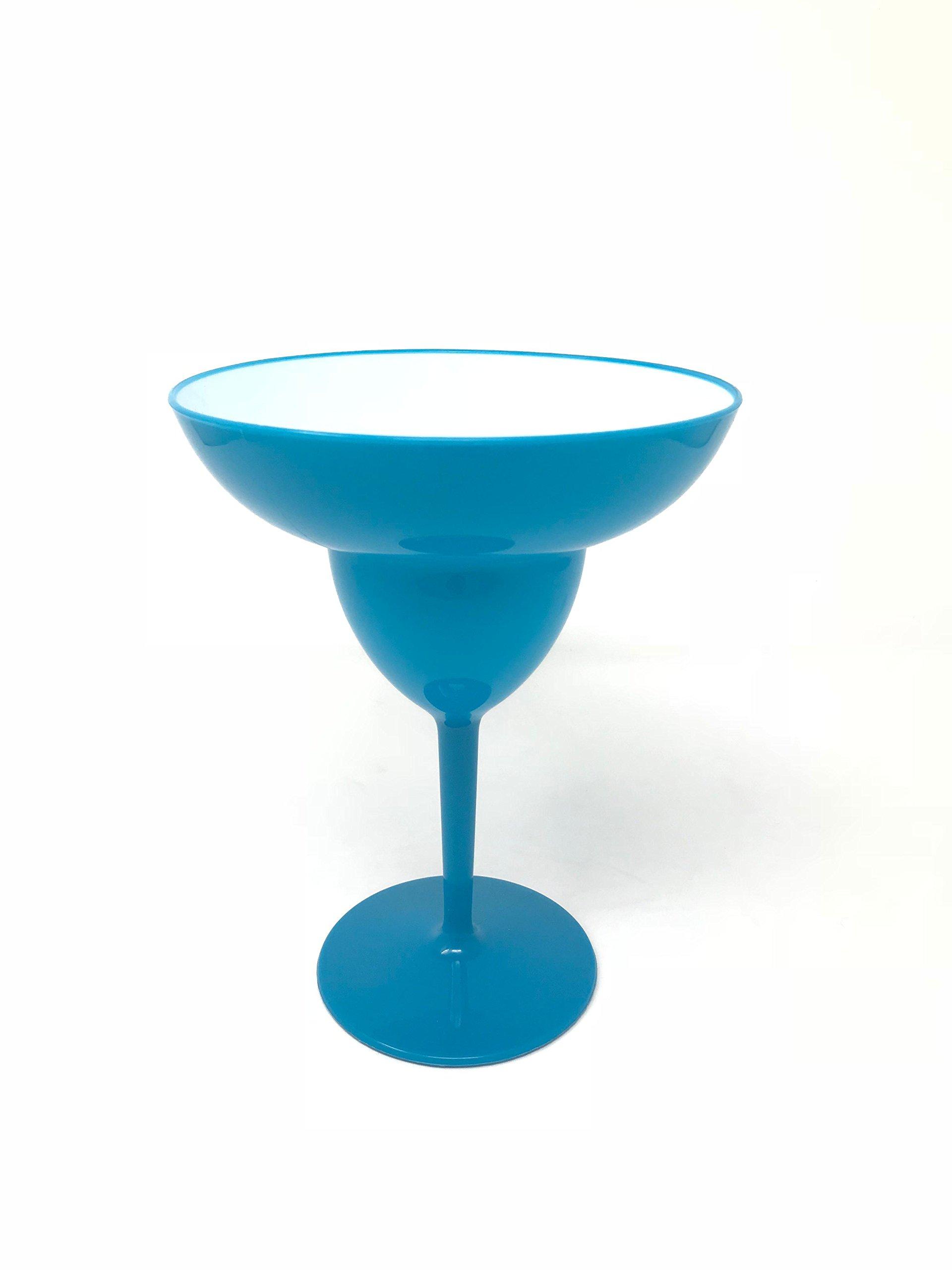 Plastic Giant Margarita Glass 6.5 x 8.5 Inches (Blue), Set of 4