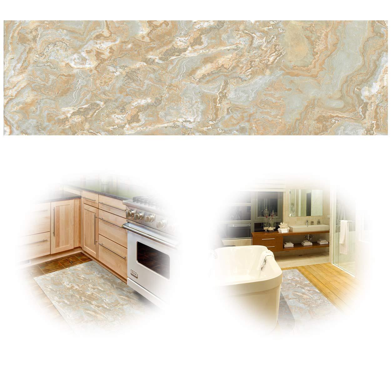 ChasBete 30x360cm Antiscivolo Adesivi per pavimenti di sicurezza impermeabile Adesivo per pavimenti in PVC sottile per cucina Bagno Doccia Stuoia, Pietra 3D