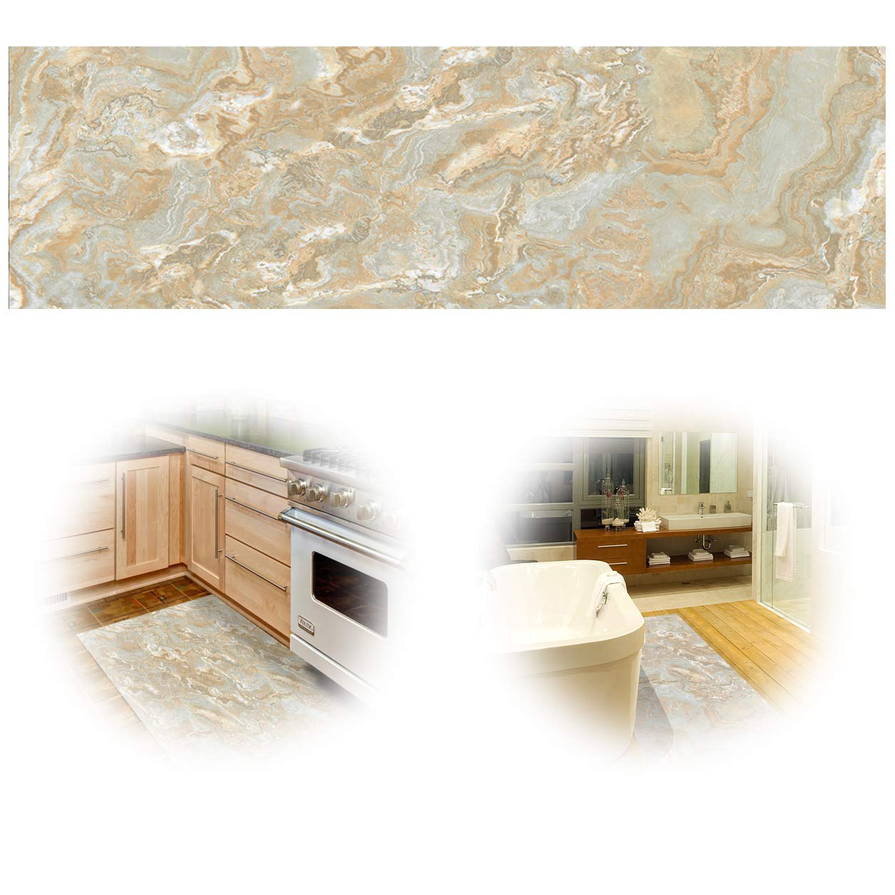 ChasBete Non-Slip Kitchen Floor Mat Slip Resistant Home Hallway Bathroom Runner Indoor Carpet Outside Door Rug Thin Waterproof Heavy Duty Sticker(Marble)