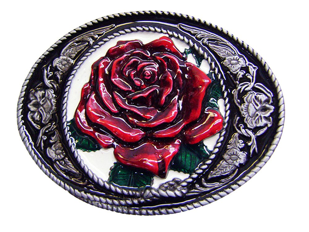 Modestone Red Rose Filligree Western Style Belt Buckle Valentine's Day Silver bk1269