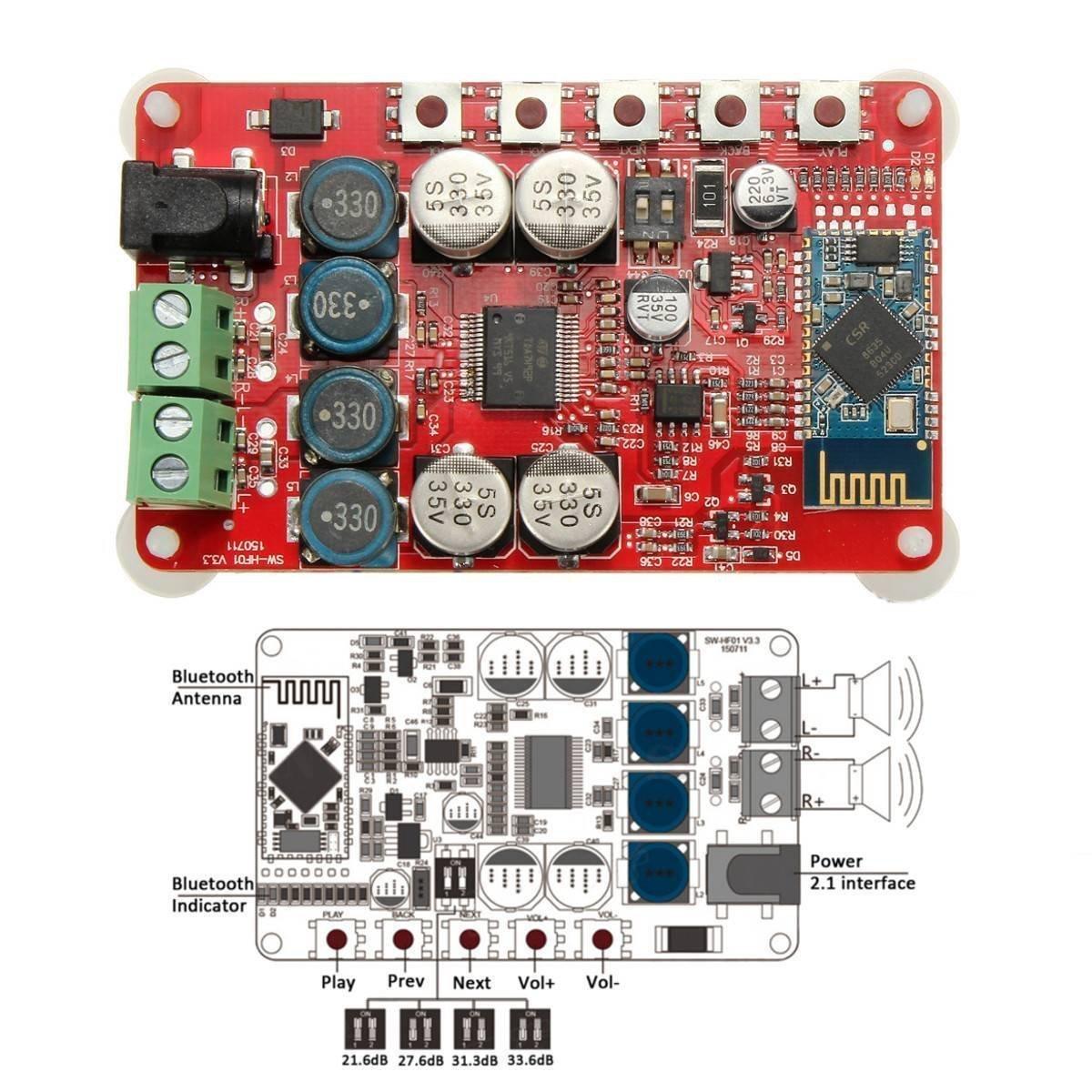 Douk Audio Tda7492p Bluetooth Csr40 Digital Amplifier Watt Power Circuit Schematic Board Receiver Amp Computers Accessories