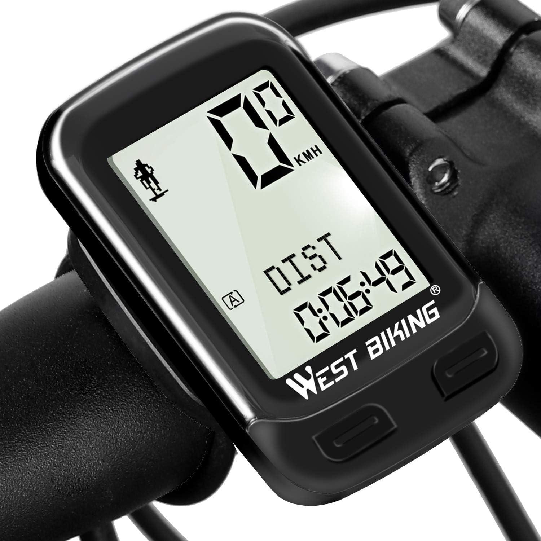 Ordenador inalámbrico resistente al agua de 22 funciones para bicicleta con encendido automático, cuentakilómetros, velocímetro y pantalla LCD retroiluminada en 5 idiomas. Admite dos bicicletas A/B: Amazon.es: Deportes y aire libre