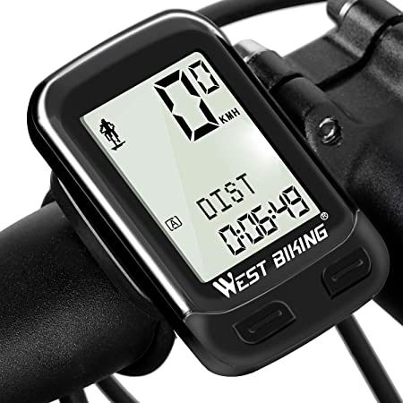 Bike Computer Wireless Waterproof Bicycle Cycle Speedometer and Odometer with Automatic Wake-up Backlight Motion Sensor LCD Display
