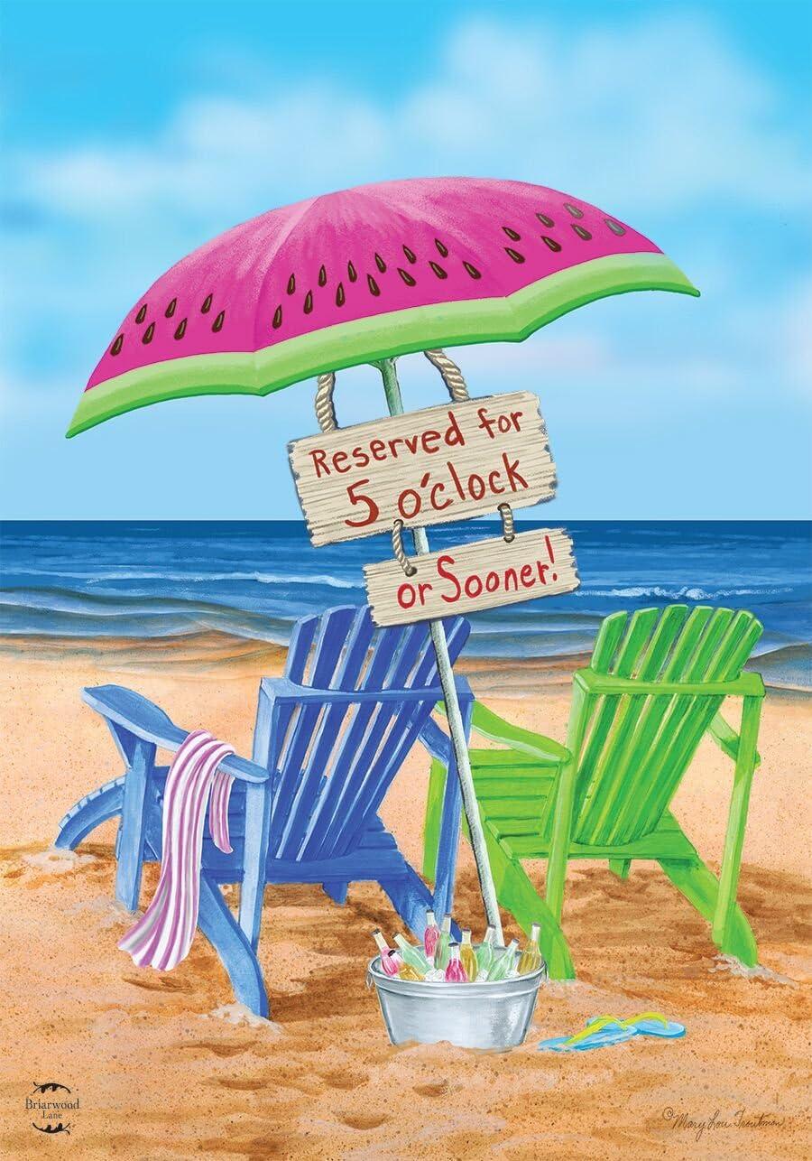 Briarwood Lane Beach Bum Summer Garden Flag Beach Chairs Umbrella 12.5
