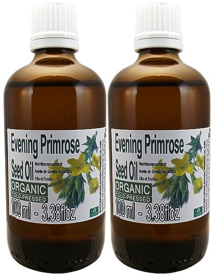 Set de Dos Botellas de Vidrio de Aceite de Semilla de Onagra Orgánico 100% puro