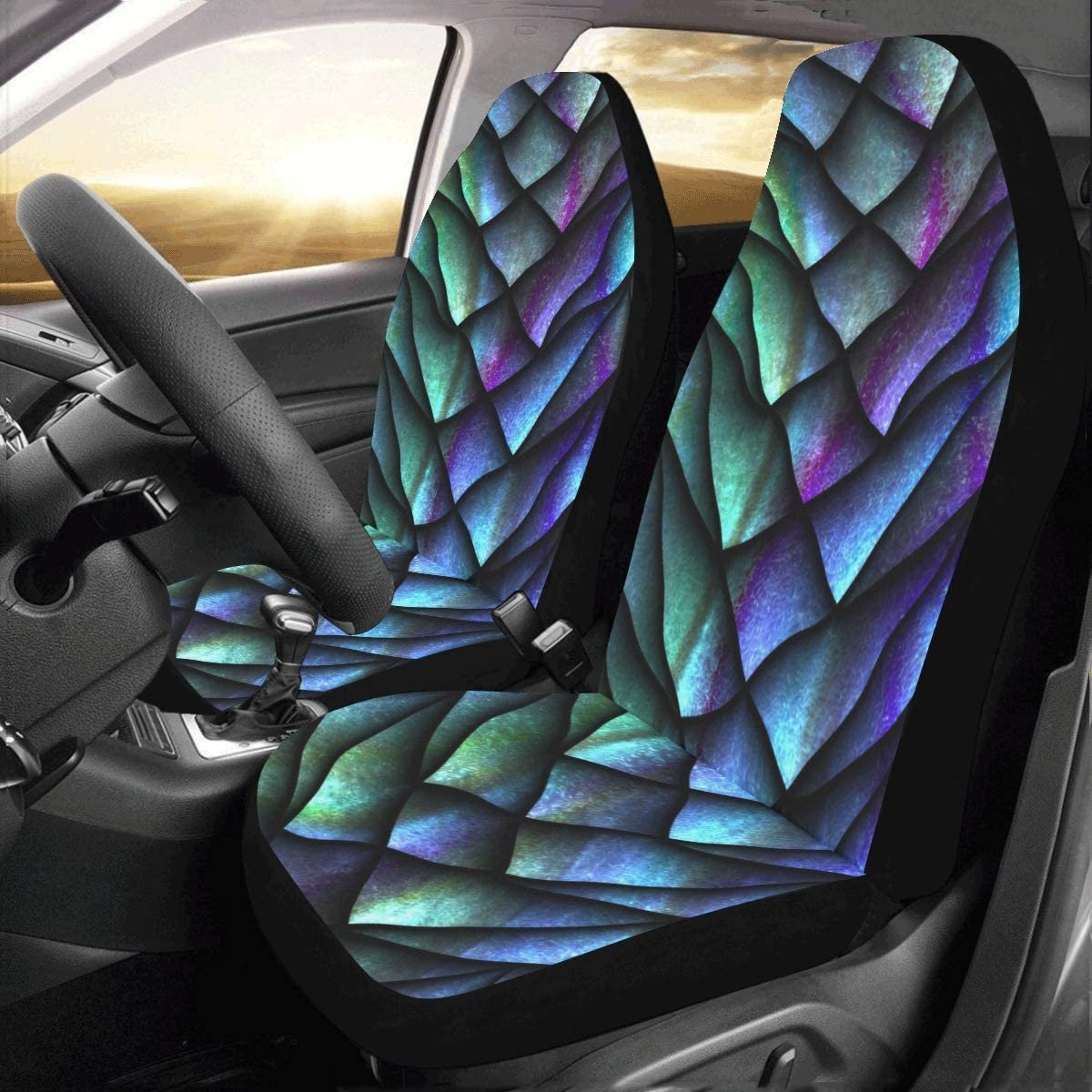 set Of 2 Front Chinese Dragon Scale Metallic Texture Custom New Universal Fit Auto Drive Car Seat Covers Protector For Women Automobile Jeep Truck Suv Vehicle Full Set Accessories For Adult Baby