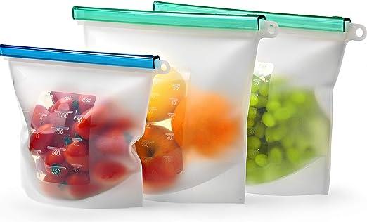 Reusable Silicone Produce Food Storage Bag Set of 4 by B Skyla