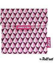 Roll'eat - Snack'n'Go Tiles - Bolsa Merienda Porta Snacks Ecológica y Reutilizable sin BPA | Funda Porta Sandwich, Unisex, Color Rosa.