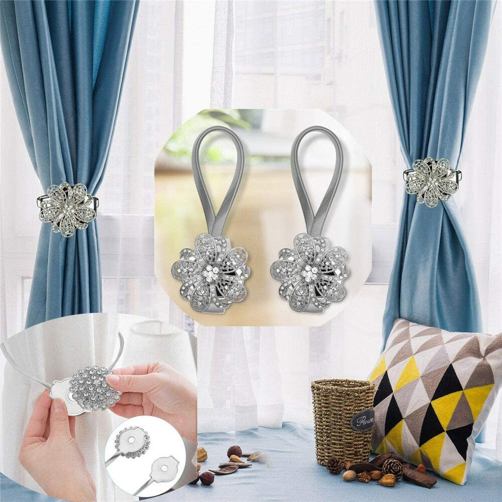 FlyCloud 2pcs Magnetic Curtain Tiebacks Crystal Tie Backs Buckle Clips Hook Silver Magnetic Crystal Curtain Tiebacks Tie Backs Buckle Clips Holdbacks for Home Office Decoration