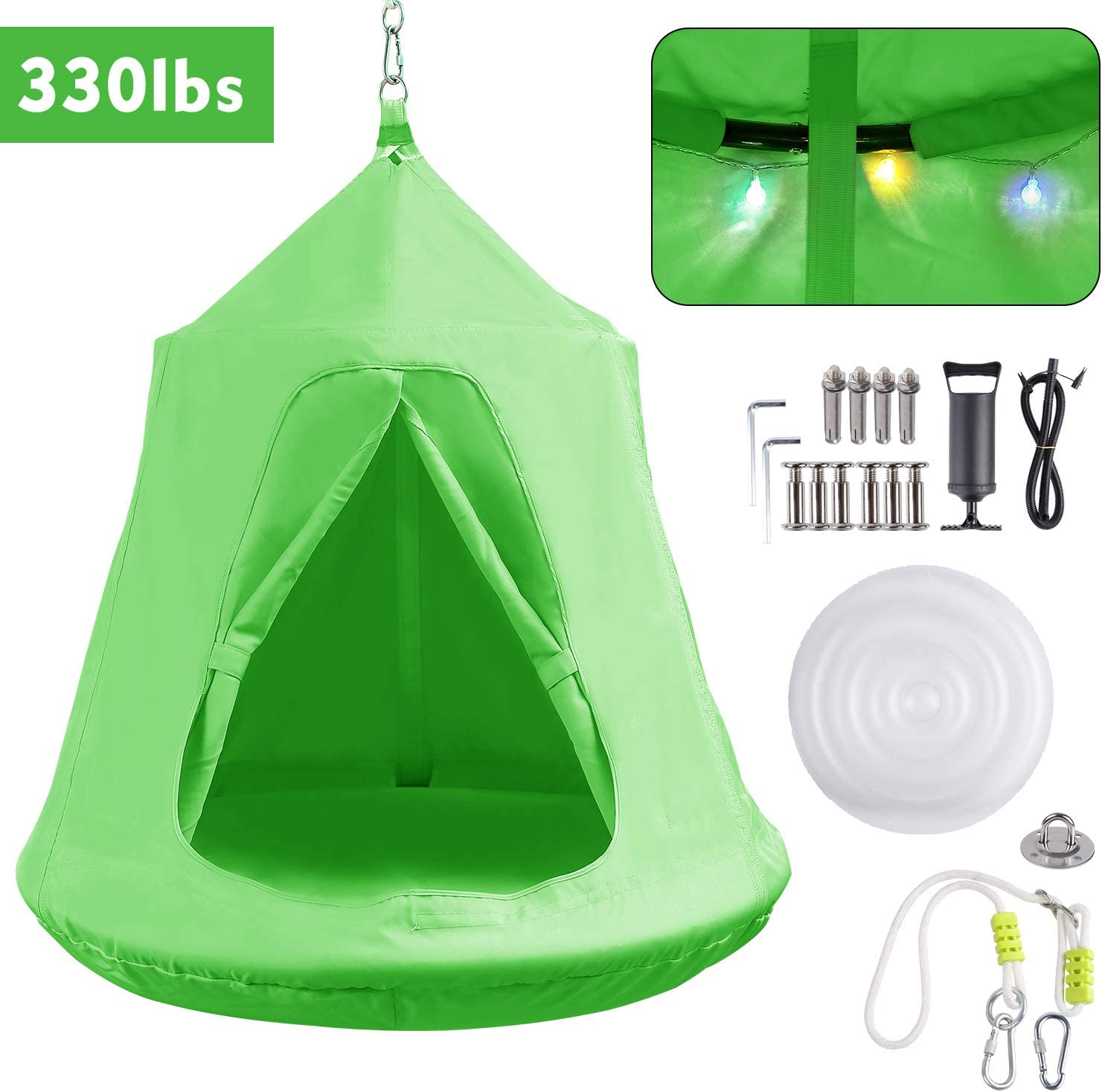 GARTIO Hanging Tree Tent, Swing Play House, Portable Hammock Chair, with LED DecorationLights, Inflatable Cushion, Suit for Adult and Kids Indoor Outdoor, Max Capacity 330lbs (Green)