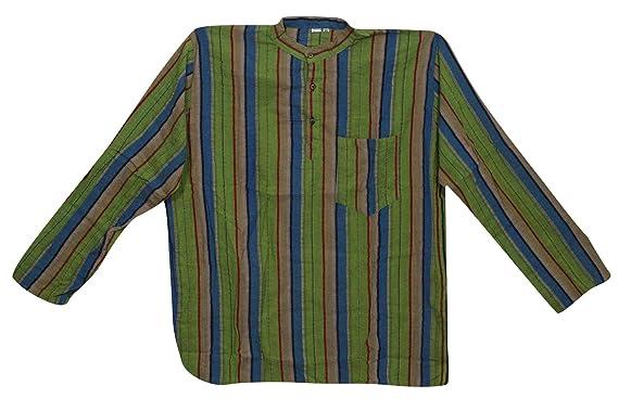 Mogul Interior Mens Yoga Shirt Kurta Green Striped Cotton ...