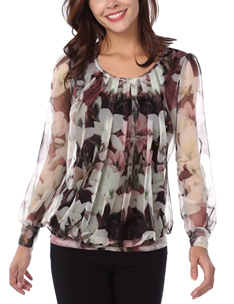Baishenggt Pleated Blouses For Women Tunic Top Women Unique