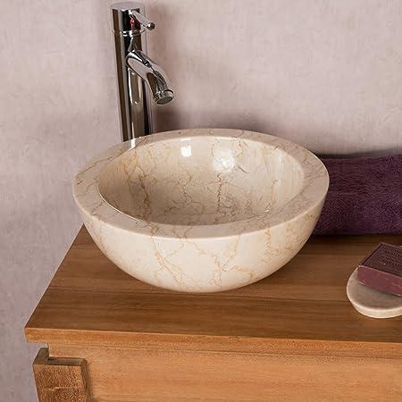 wanda collection Vasque Ronde en marbre /à Poser LYSOM 35cm Noir