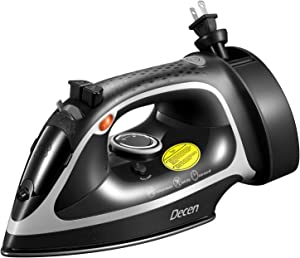 Decen 1600W Steam Iron, Antidrip Nonstick Stainless Steel Iron with 5 Level Temperature Control and Retractable Cord, Anti Scale, Auto Shutoff, Rapid Heating, Vertical Ironing, Selfclean