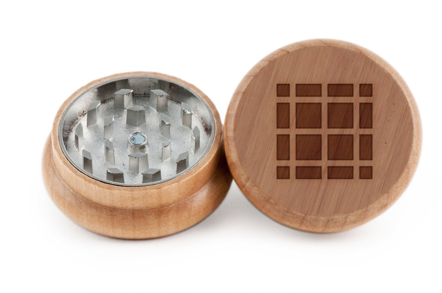 Interlocking Squares Herb and Spice Grinder - 2 Piece Wood Grinder with Laser Etched Designs - Made with Oak (2 Inches) GrindCandy