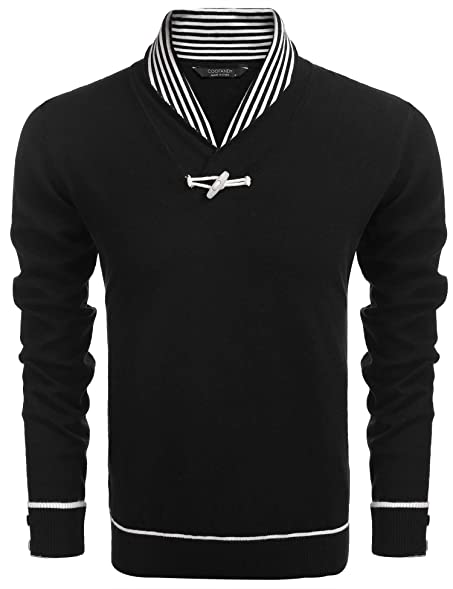 JINIDU Mens Casual Knitted Slim Fit Shawl Collar Pullover Sweater ...