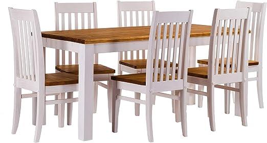B.R.A.S.I.L.-Möbel TableChamp Juego de mesa de comedor para cuatro, Rio Pine con 6 sillas en miel, madera maciza, extensiones opcionales extensibles: Amazon.es: Hogar