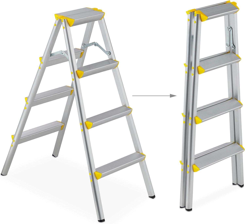 Relaxdays Escalera Plegable Aluminio, Escalerilla Tijera Doméstica, hasta 150 kg, 4 Peldaños, Plateado y Amarillo: Amazon.es: Hogar