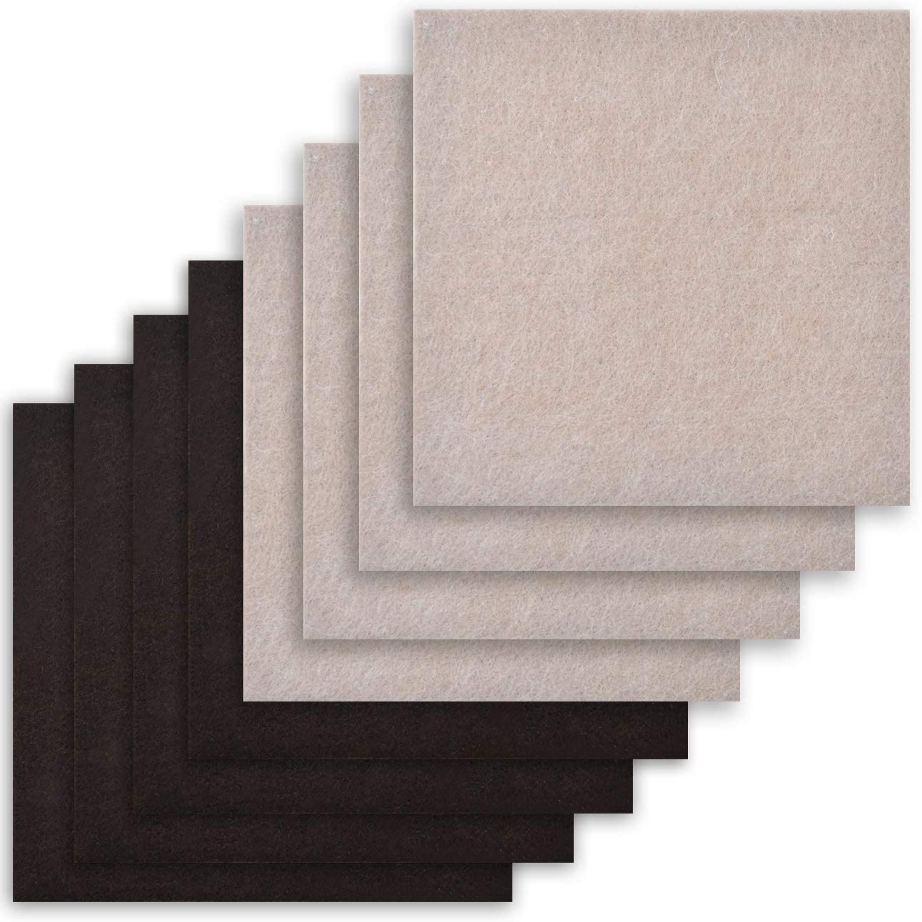 8 Pack - 2 Colors Self Adhesive Square Furniture Felt Pad Surface Protector for Hardwood, Tile, Laminated Floor - Cut into Any Shape - 8 Pack