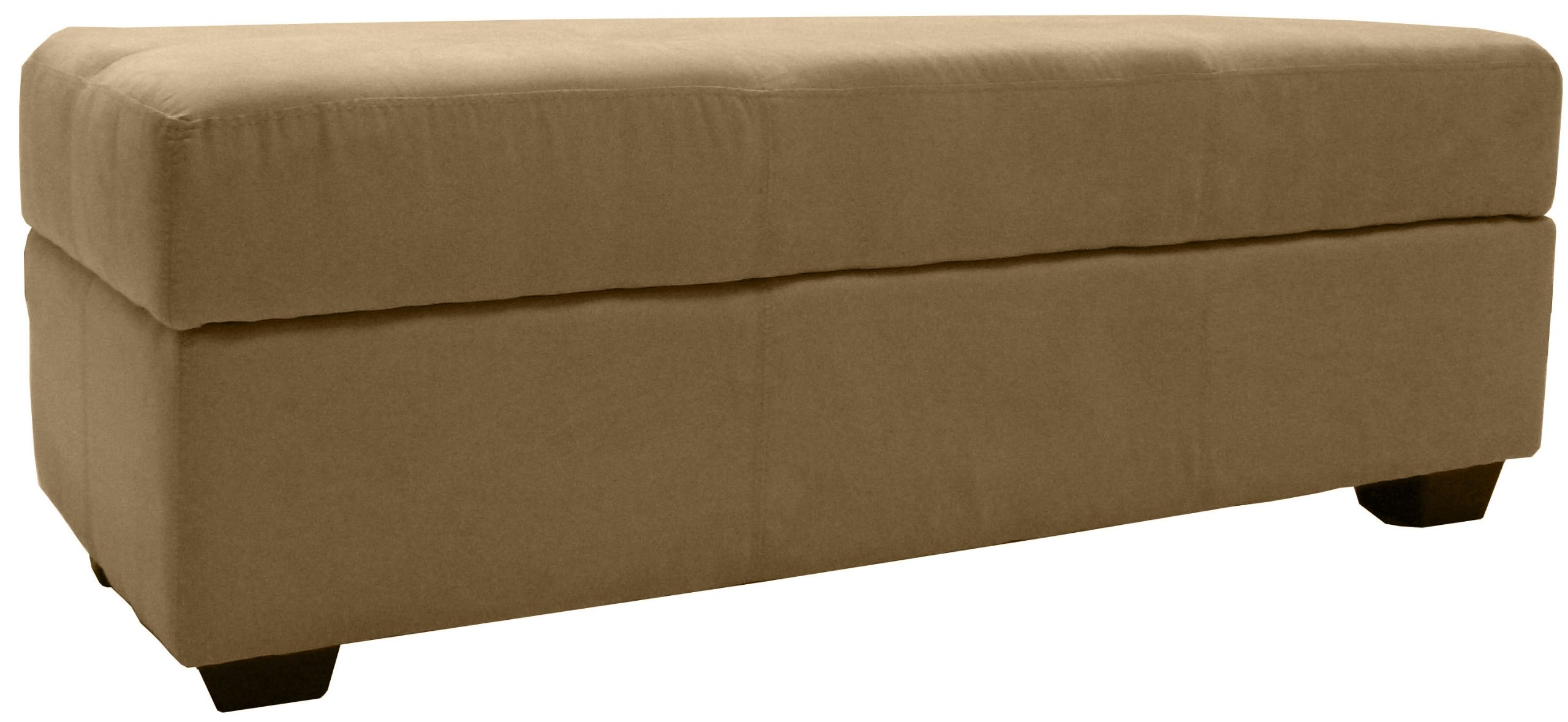 Microfiber Suede Upholstered Tufted Padded Hinged Storage Ottoman Bench, 48 by 19 by 18'', Khaki