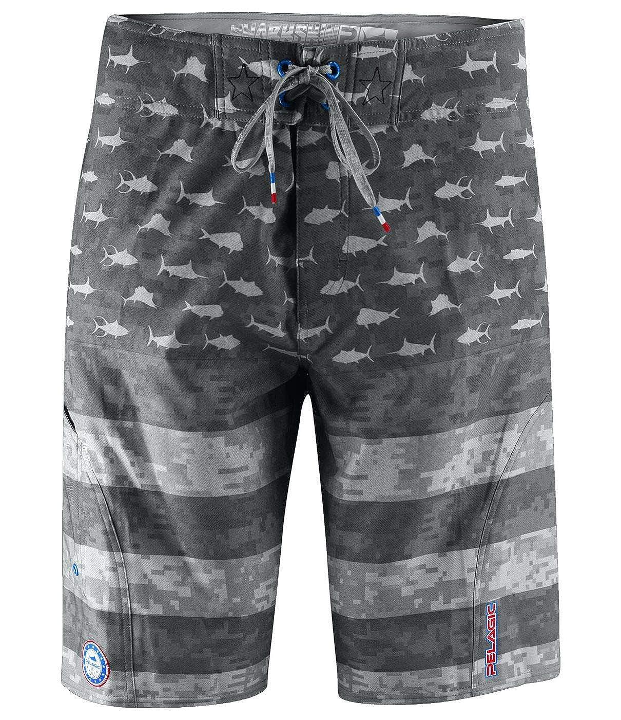 8f13d4ef8f5fd Amazon.com: Pelagic Men's Sharkskin Americamo Boardshort for Fishing |  American Flag Design: Sports & Outdoors