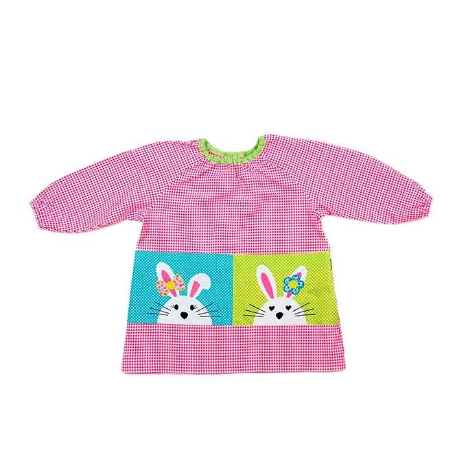 Dyneke Babi elástico rosa Conejitos bordados (personalización opcional gratuita con nombre bordado) (Talla