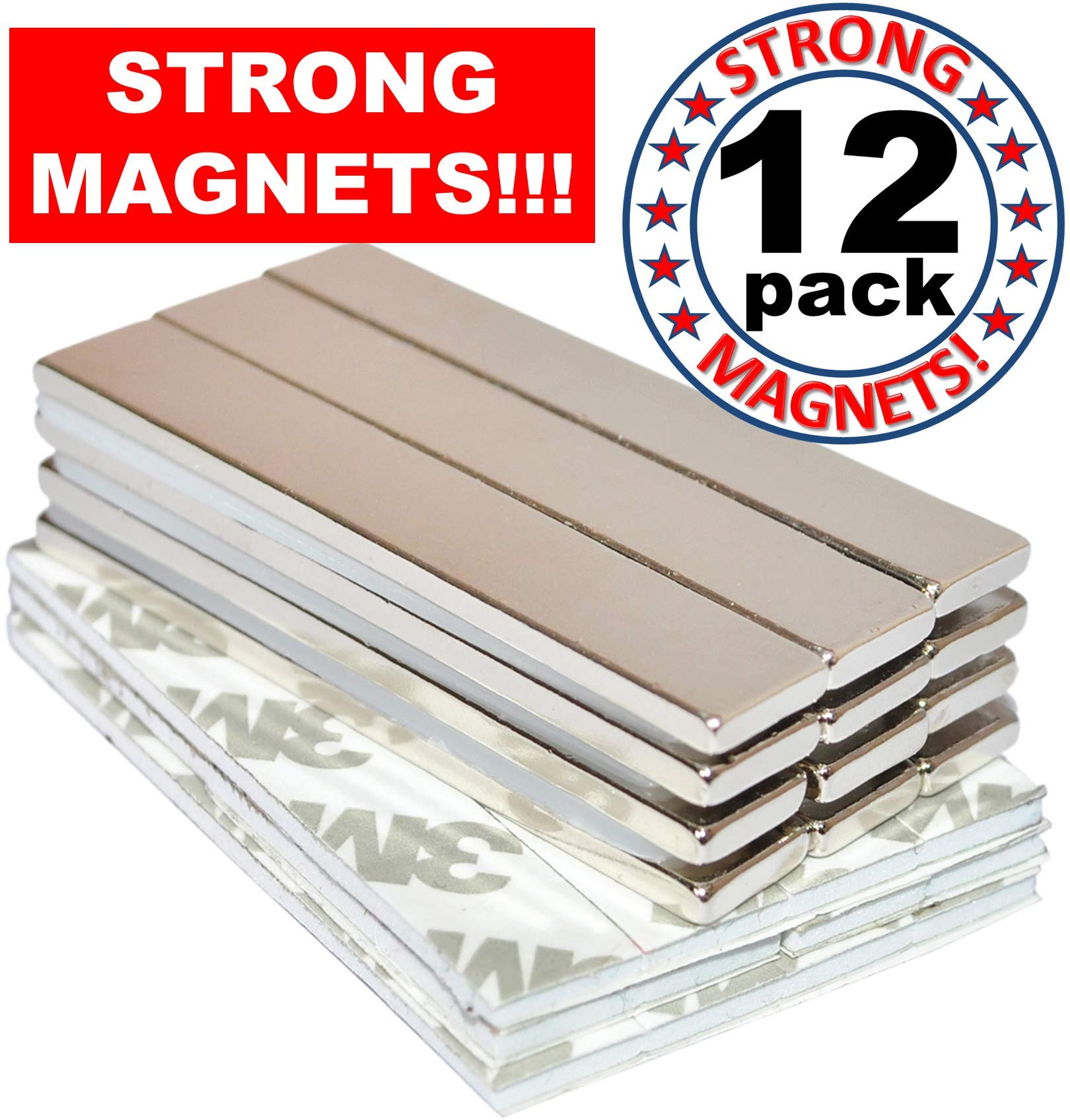 Rare Earth Magnets Strong Neodymium: Bar Adhesive Super Permanent Metal Rectangular, 60x10x3mm, Powerful Pull Force, 12 Pack| Heavy Duty, Fridge Door, Garage, Kitchen, Science, Craft, Art, Office, DIY by Magnetland
