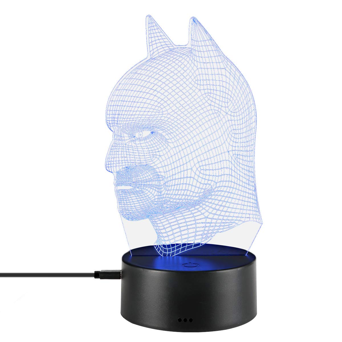 3D Optical Illusion Night Light USB Cable Smart Touch Button Desk Table Lights 7 Color Changing Bedroom Table Lamp Home Decoration Kids Gift (batman)