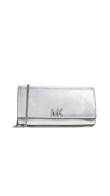 d842fc4b8d01 MICHAEL Michael Kors Women's Mott Large Clutch with Chain, Silver, One Size
