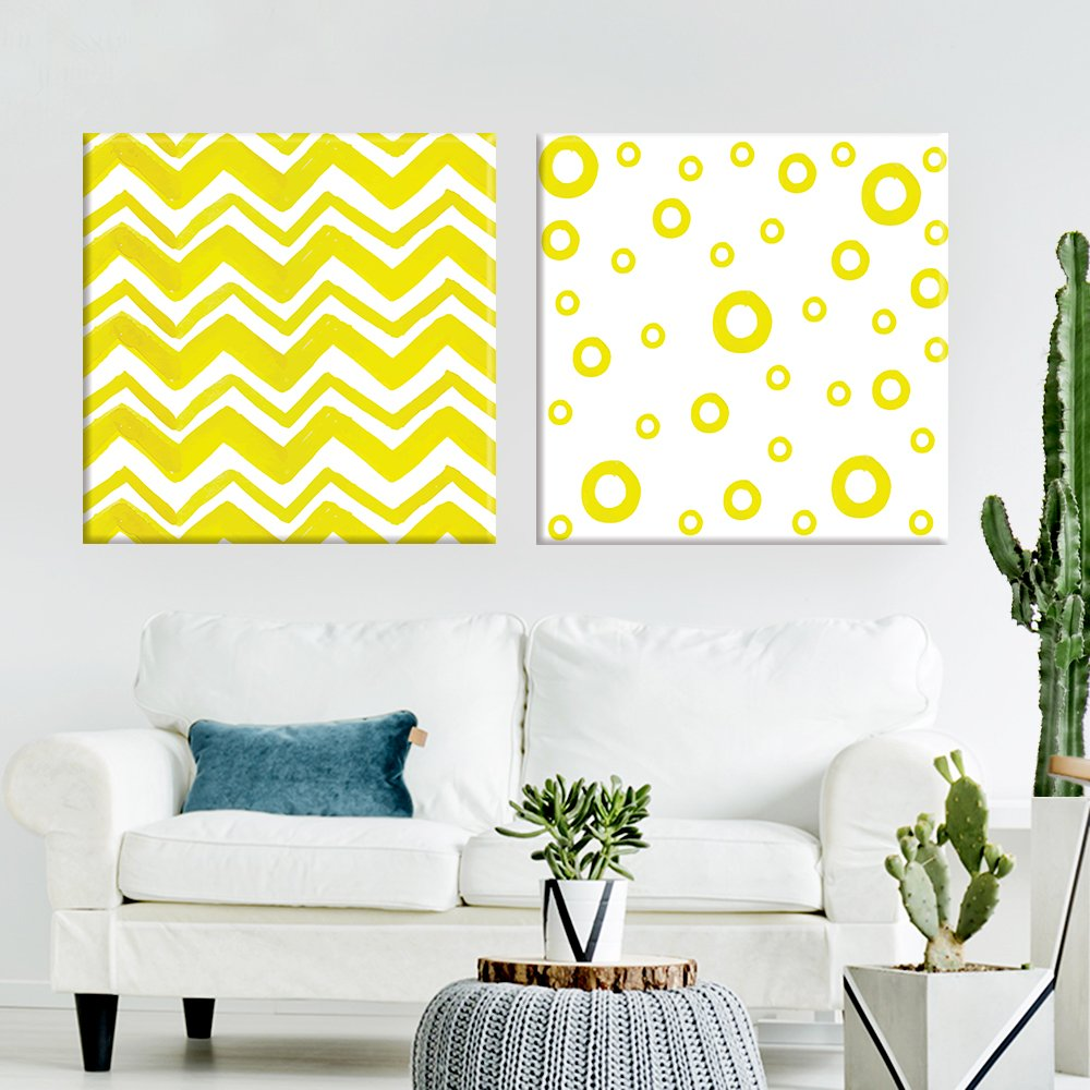 2 Panel Square Abstract Yellow Chevron and Circle Patterns x 2 ...