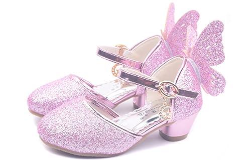 YOGLY Niñas Zapatos de Tacón Princesa Fiesta Sandalias para Niñas, Brillante Princesa Zapatillas de Baile: Amazon.es: Zapatos y complementos