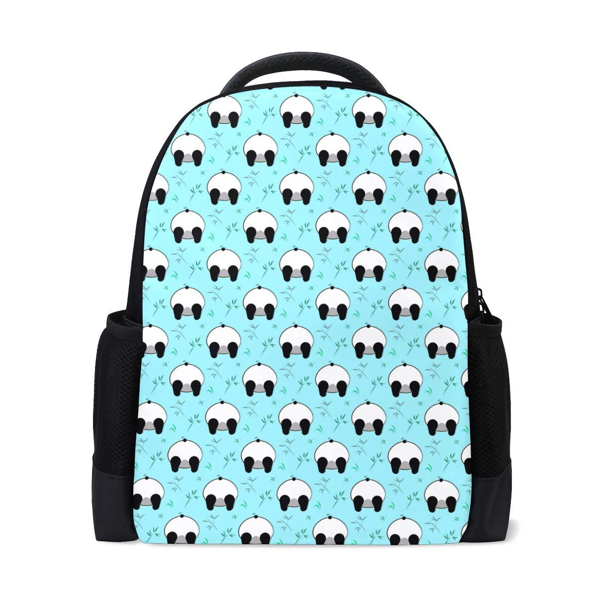 Funny Panda White BlackBear blueee Backpack Bookbags Waterproof Travel Daypack Bag Rucksack