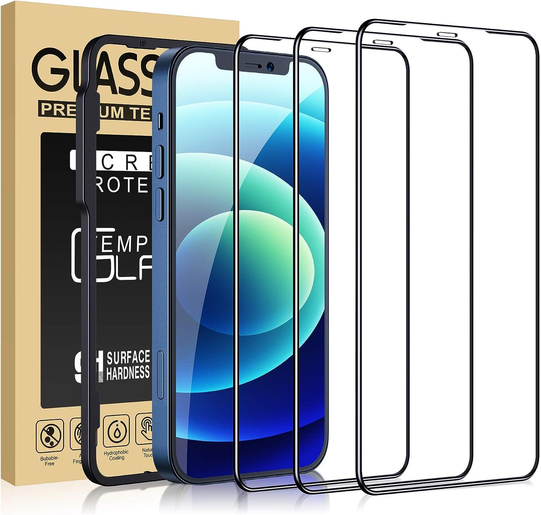 Cocoda [3 Piezas Protector Pantalla para iPhone 12/12 Pro, [Marco Instalación Fácil] [Dureza 9H] [Sin Burbujas] Cobertura Completa Cristal HD Templado Compatible con iPhone 12/12 Pro-6.1