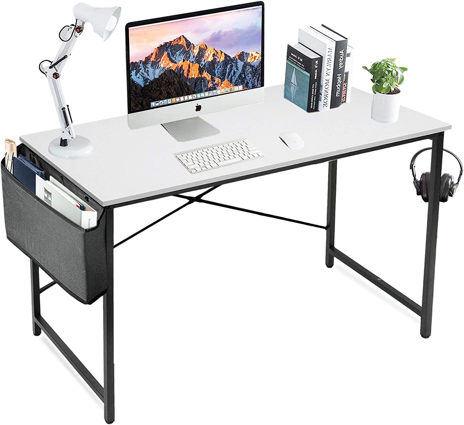 LUFEIYA White Computer Desk Home Office Small Study Modern Writing Table 39 Inch Simple PC Work Des 40 in with Storage Bag,White Black
