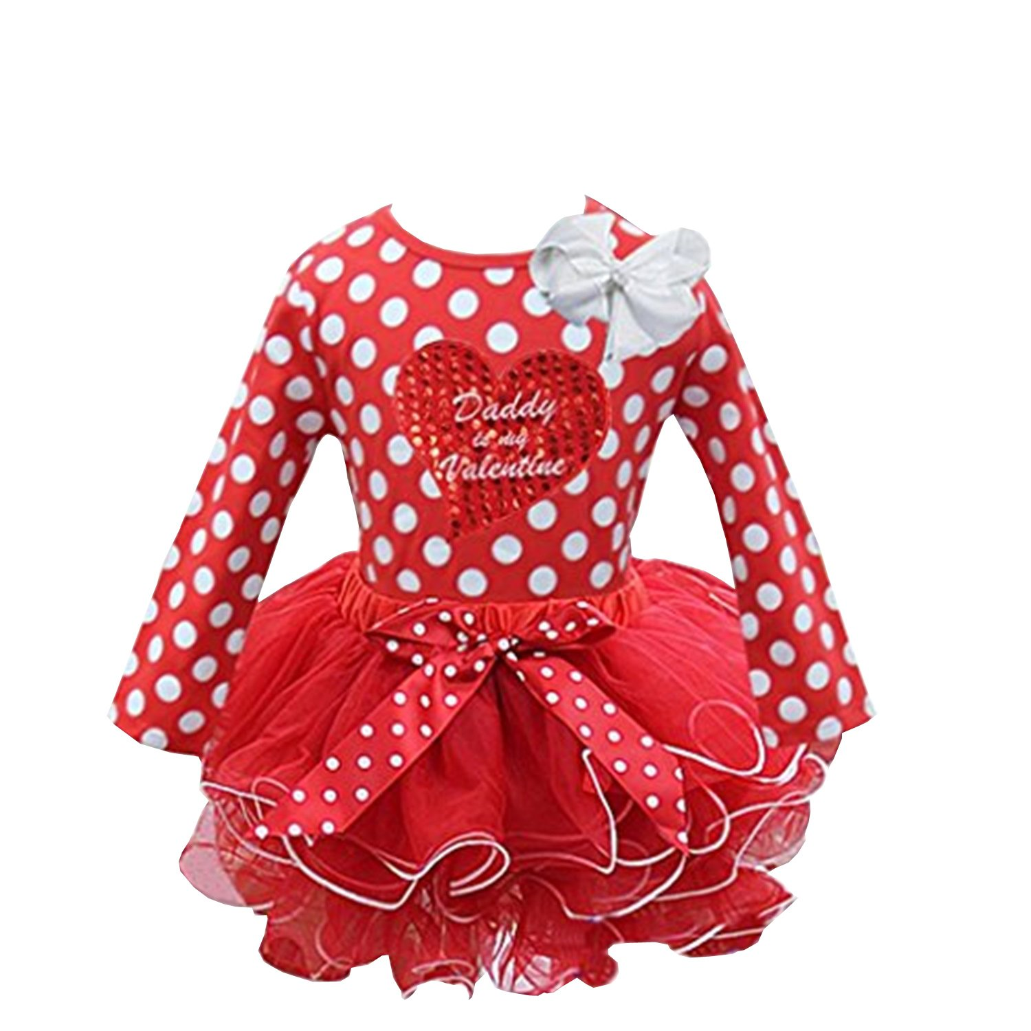 Red White Tutu Daddy is my Valentine Heart Polka Dots Tee