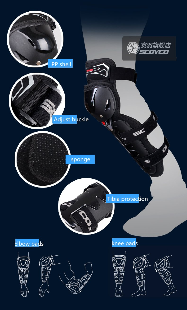 SCOYCO 4PCS K11 H11 Motorcycle Knee Elbow Pads Protector Motorcycle Riders Protective Equipment Motor-Racing Guard Safety
