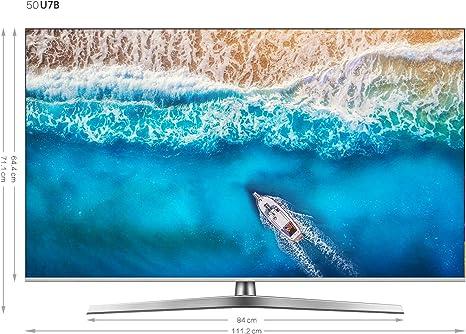 Hisense H50U7BE - Smart TV ULED 50 4K Ultra HD con Alexa Integrada, Bluetooth, Dolby Vision HDR, HDR 10+, Audio Dolby Atmos, Ultra Dimming, Smart TV VIDAA U 3.0 IA, mando con