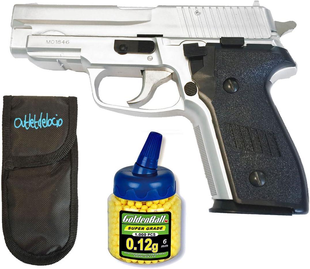 Outletdelocio. Pistola airsoft HA109 metálica. Calibre 6mm. + Funda Portabalines + Biberon 1000 bolas. 62778/21993/23054