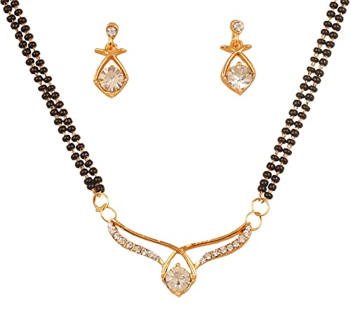 New! Indian Bolly Trditional Symbolic White Rhinestones Black Beads Diamond  Look Designer Jewelry Mangalsutra in Gold Tone for Women