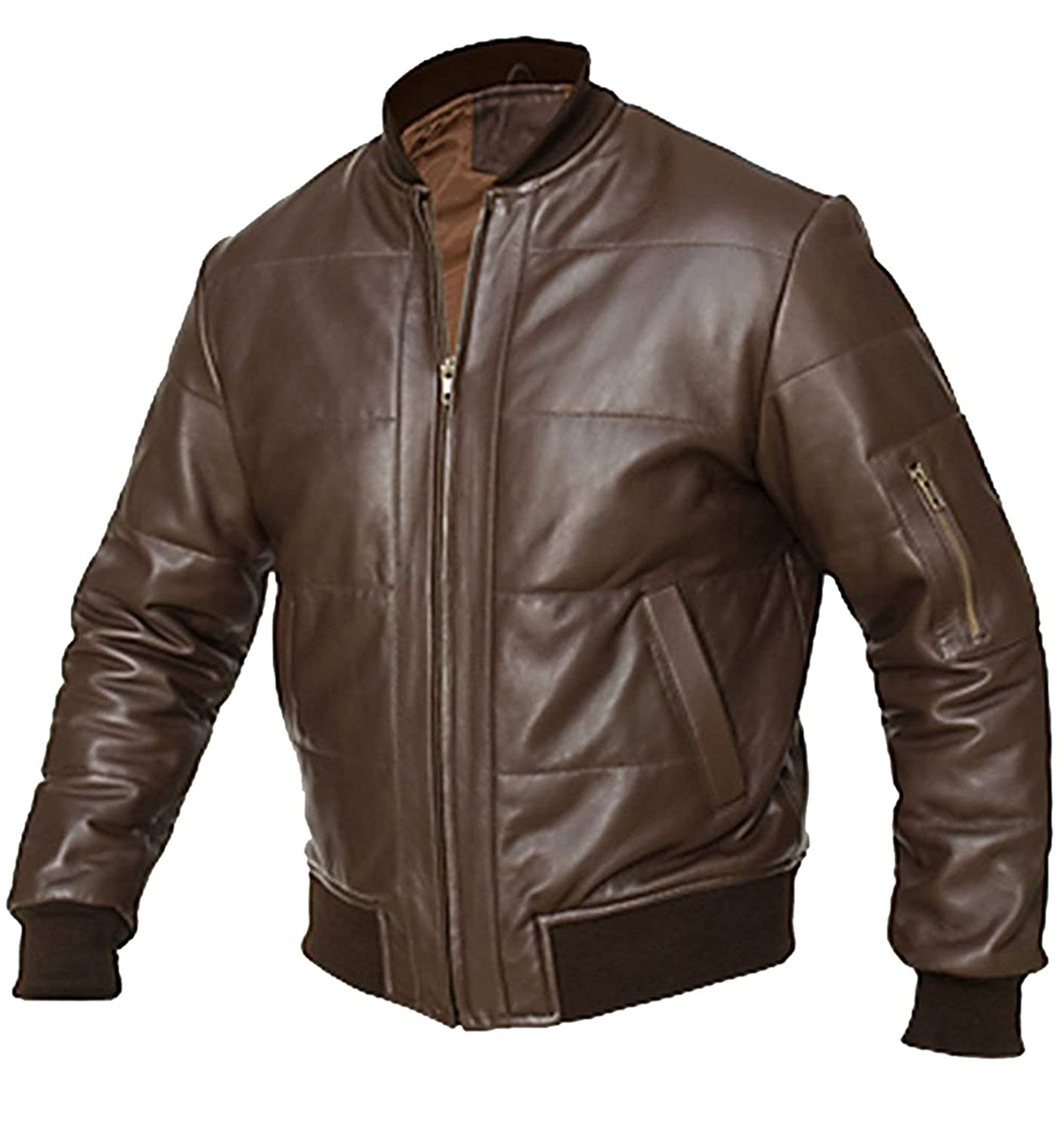 6587387e8 Liberty Brown Bomber Motorcycle Leather Jacket at Amazon Men's ...