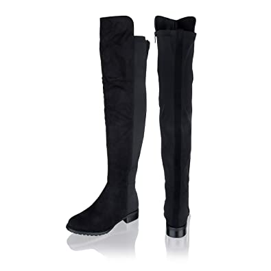 5568391bc3b Womens Ladies Over The Knee Thigh High Wide Calf Stretch Suede Long Boots  Size  Amazon.co.uk  Shoes   Bags