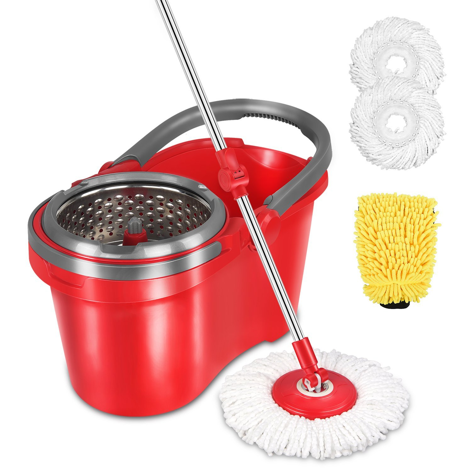 HAPINNEX Spin Wringer Mop Bucket Set - for Home Kitchen Floor Cleaning - Wet/Dry Usage on Hardwood & Tile - Upgraded Self-Balanced Easy Press System With 2 Washable Microfiber Mop Heads Replacements