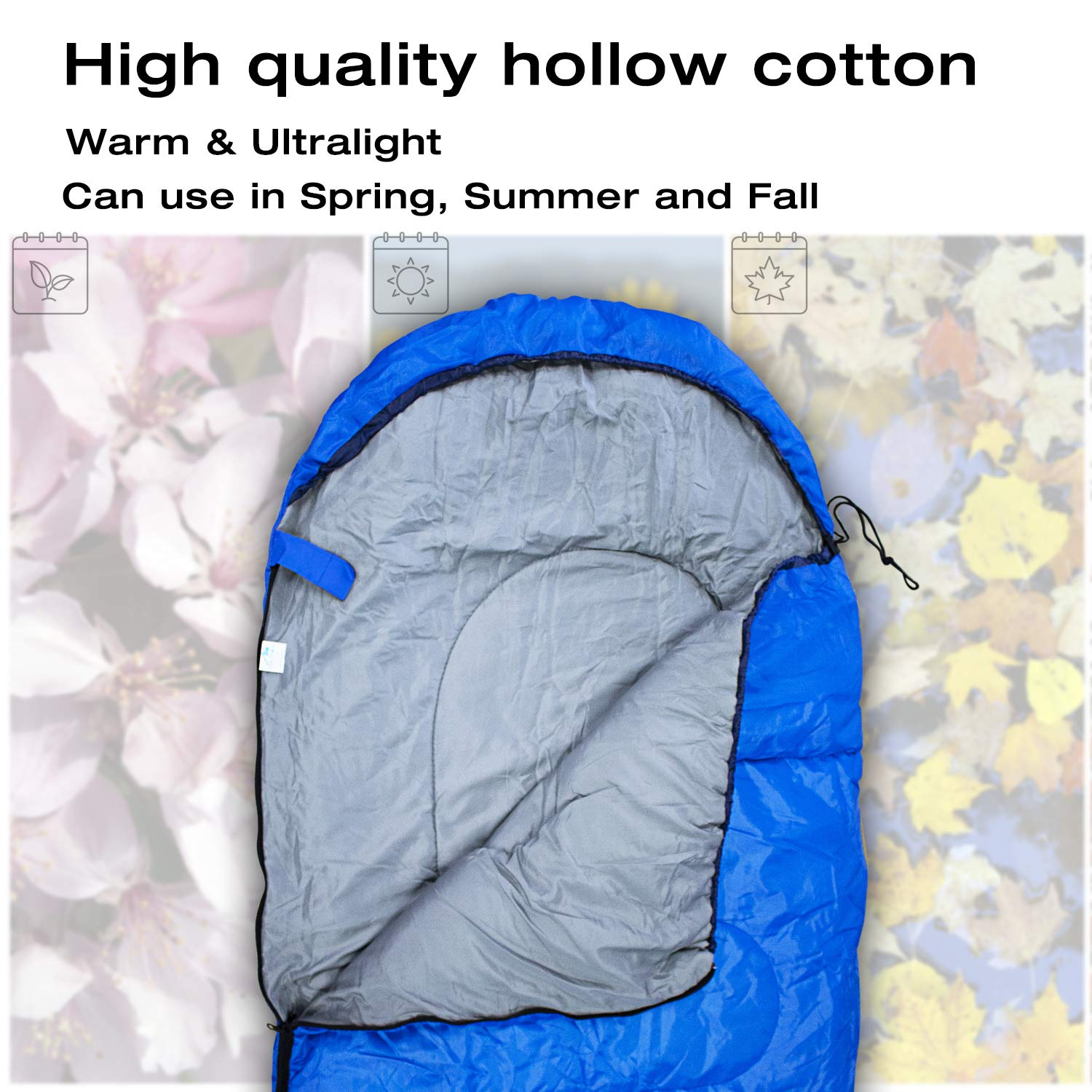 FLYSBA Sleeping Bag, Waterproof Bags Perfect for Backpacking, Camping, Or Hiking, Lightweight and Compact, Great for 3 Season Warm Cool Weather, Indoor Outdoor Use
