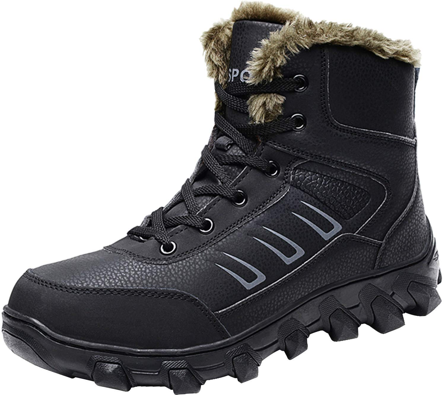 Barerun Men's Hiker Leather Waterproof Hiking Boot Outdoor Backpacking Snow Boots Black 9 D(M) US …