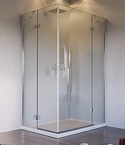 Olimpo - Mampara de Ducha Angular H195 con Doble Puerta batiente ...