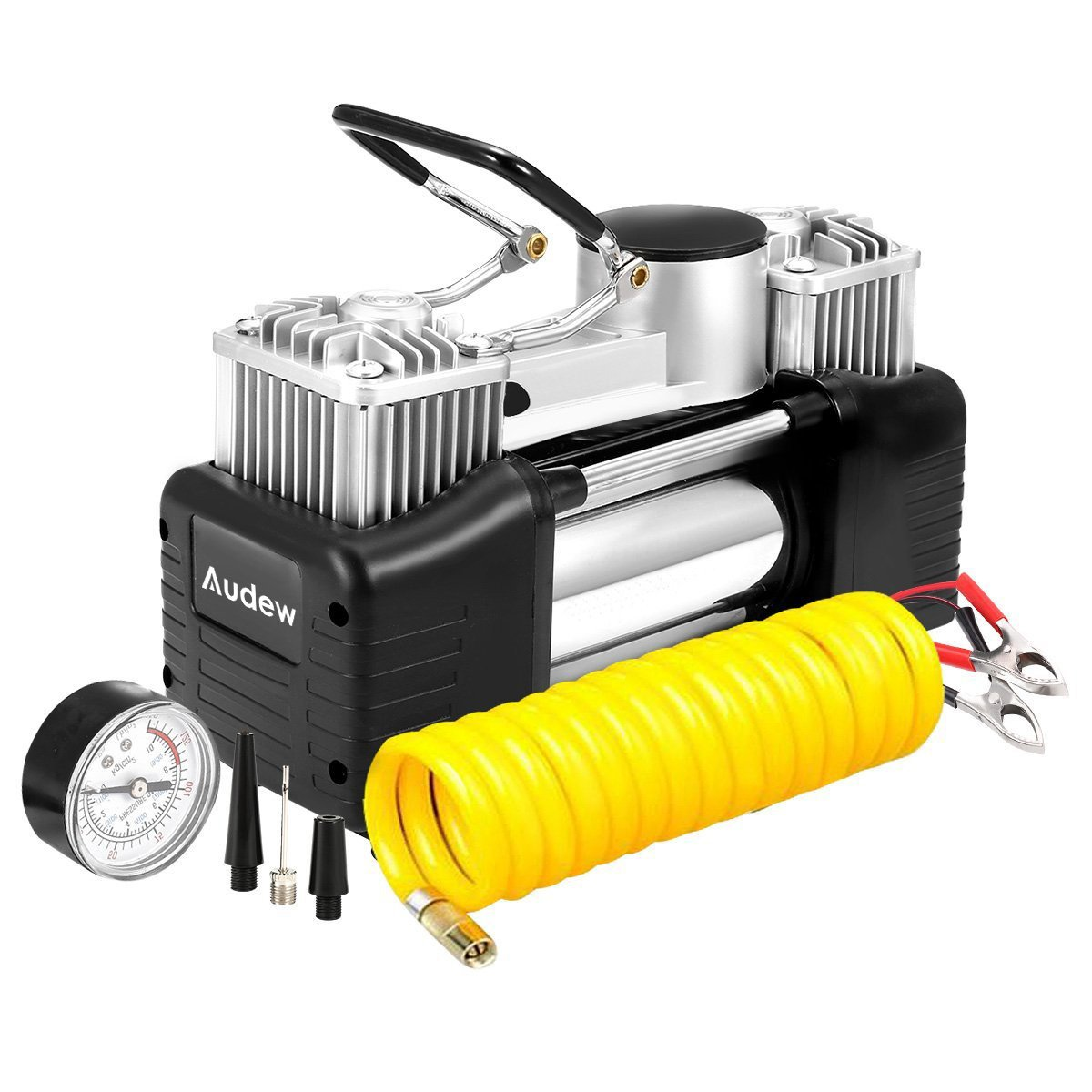 AUDEW Portable Air Compressor Pump, 150PSI Tire Inflator, 12V Heavy Duty Double Cylinders Air Pump for Car, Truck, RV, Bicycle and Other Inflatables