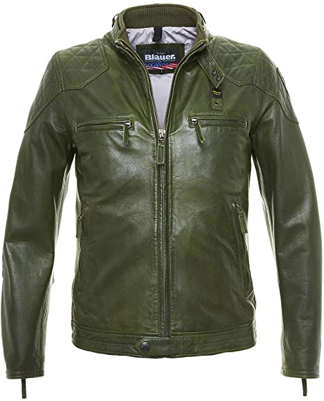 meet 7aeb1 d704c Blauer USA Chicago Giacca in pelle verde verde s: Amazon.it ...