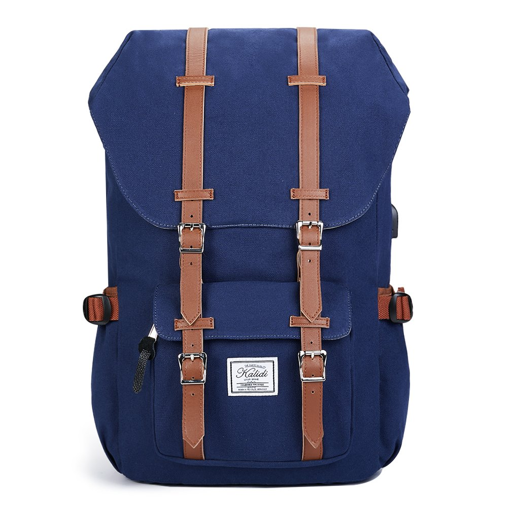 KALIDI Schulru Tasche Laptop Canvas Lässig Tagesrucksack mit USB Ladeanschluss Rucksack 50 cm, Black 60692