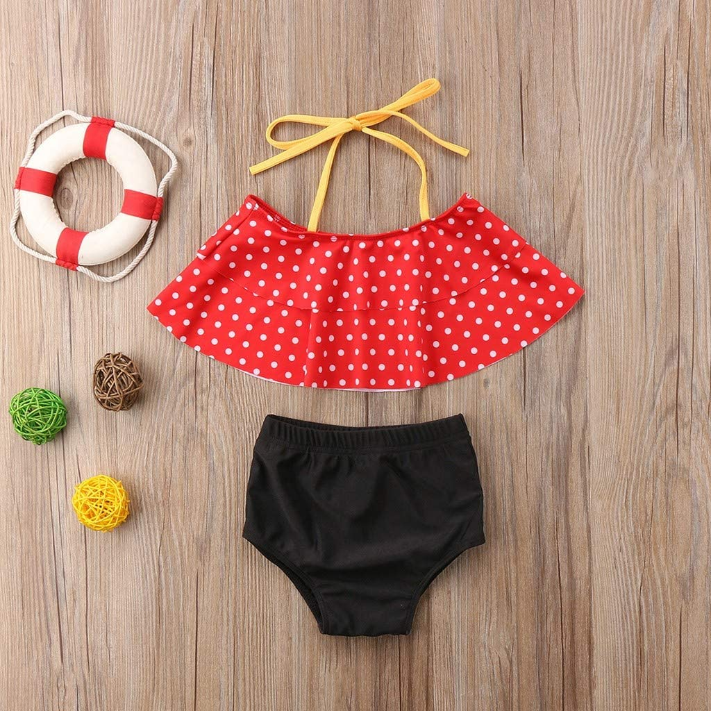 Cute Patterned Bikini Suit Tops+Shorts Available in a Variety of Styles for Girls and Babies