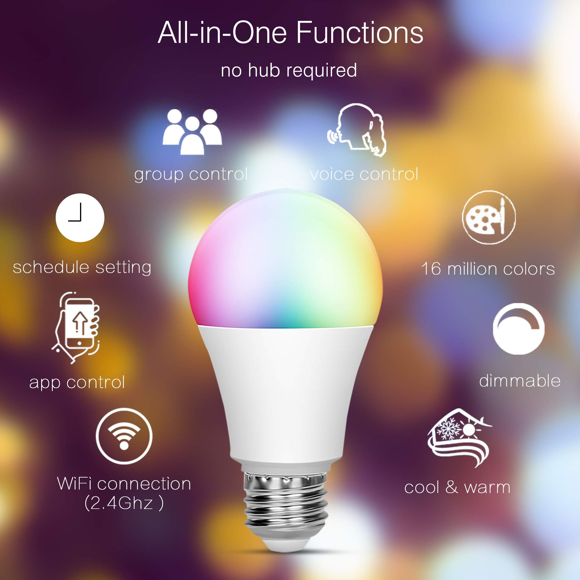 OHLUX Smart Light Bulbs Compatible with Alexa & Google Assistant & IFTTT, No Hub Required, 7W(60W Equivalent), RGB+Soft White+Daylight Dimmable, E26 A19 Multi-Color Tunable WiFi LED Bulb-4PACK